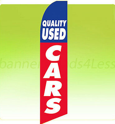 Feather Swooper Flutter Banner Sign 11.5' Flag - QUALITY USED CARS rb