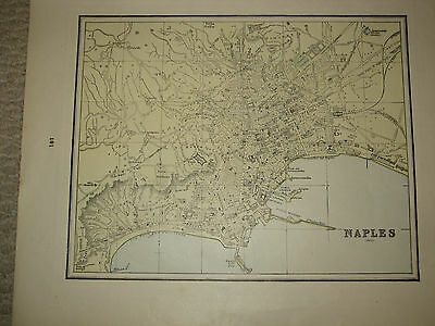 1888 Original Antique CITY  MAP CONSTANTINOPLE / NAPLES ITALY  Mint