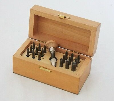 Bezel Setting Punch Set In Wood Box With 18 Punches