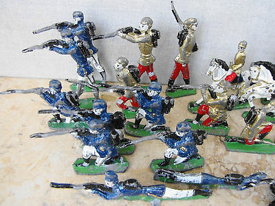 Collection 23 Vintage Italian Tin Hand Painted Toys Soldiers, Riders