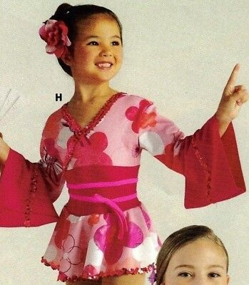NWT Dance Costume Asian Oriental Japanese Kimono style Pink Floral