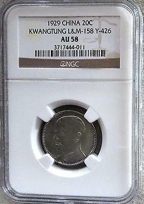1929 Silver China 20 Cents Kwangtung Providence Coin Ngc About Uncirculated 58