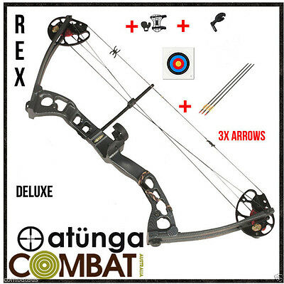 NEW Right Hand Black 55lb Compound Bow and Arrow Deluxe Archery Hunting REX