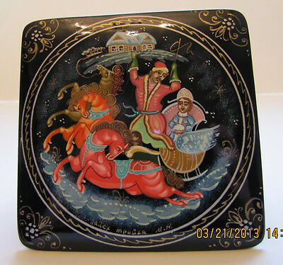 Russian Square Palekh Box with a Troika Scene  New from Moscow, Russia