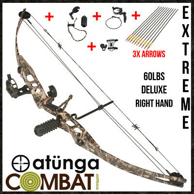 NEW Extreme Camo Deluxe2 Kit, 40-60lbs Compound Bow and Arrow Kit ,Target