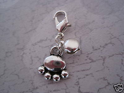 CUTE PAW Clip on Cat Collar Charm Bell Pet Tibetan Silver Paw Print