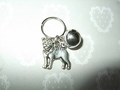 Anti-Theft Purse Bell Charm Pug Dog Silver Security Handmade Puppy