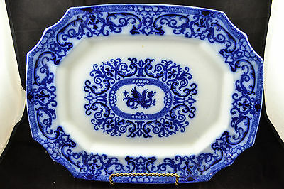 "Flow Blue Platter 18"" Turkey Platter Dragon Unmarked Rare!!!!!"