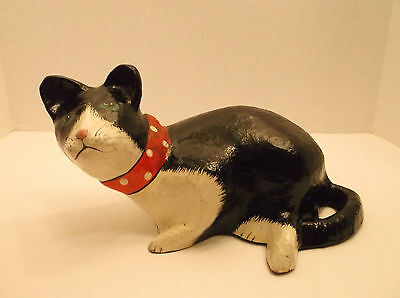 Paiper Pulp Mache Cat Figurine with Red Polka Dot Ribbon Bow