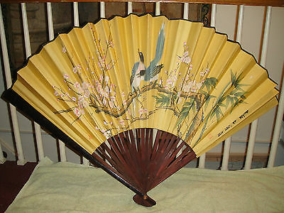 Vintage Chinese Or Japanese Large Fan-Paper W/Painted Birds & Floral Theme-Stamp