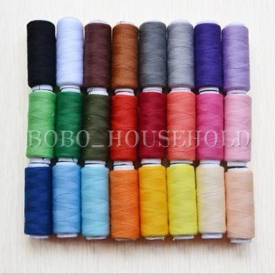 24 Rolls Assorted Colour Spools Finest Quality Cotton Thread For Sewing Machine