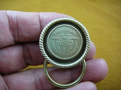 (E-794) Genuine Freedom Eagle with shield token Eyeglass pin brooch ID badge