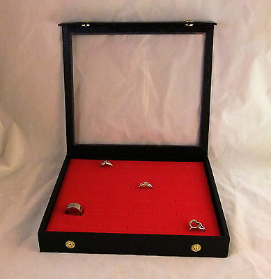 36 Ring Attached Top Ring Display Case With Red Velvet Pad