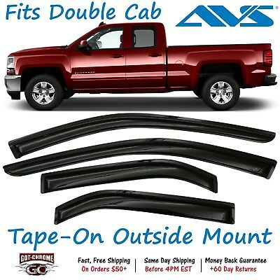 For Chevy Silverado 1500 07-13 Window Deflectors Tape-On Standard Ventvisor