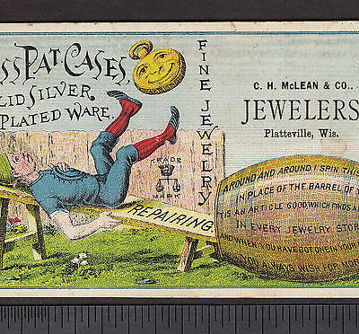 Platteville WI McLean Jewelery Boss Watch Case Circus Acrobat poem Ad Trade Card