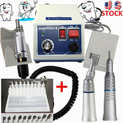 Dental Lab Marathon Electric Micro Motor+35K RPM Contra Angle Straight Handpiece