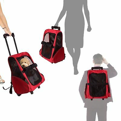 PAWHUT 4in1 Pet Backpack Carrier Dog Cat Rolling Luggage Crates Blue/Red