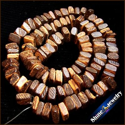 5x8mm Natural Square brown Wooden Coconut Shell Wood Loose Spacer Beads 15""