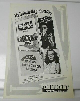 1942 LARCENY INC. / THE MOLL Press Book Kit JANE WYMAN FN+
