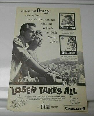 1956 LOSER TAKES ALL Press Book Kit ROSSANO BRAZZI Glynis Johns FN+