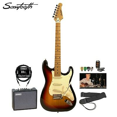 Sawtooth Sunburst Electric Guitar w Vintage White Pickguard, 10 Watt Amp, Cable