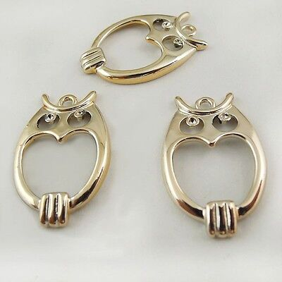30X Vintage Style Gold Tone Hollow Owl Bird Pendant Charms Finding 22*15*3mm