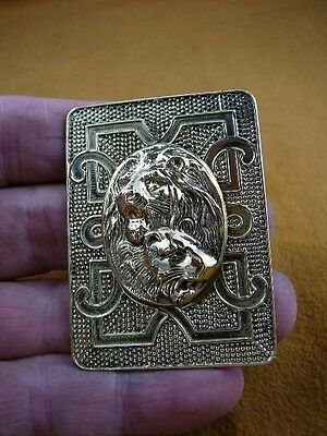 (B-LION-658) Lion + lionness pair lions wild Big cat scrolled brass pin pendant