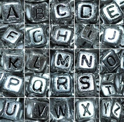 AAA silver acrylic alphabet letter beads, cube, 6 mm, mixed & individual A, B..Z