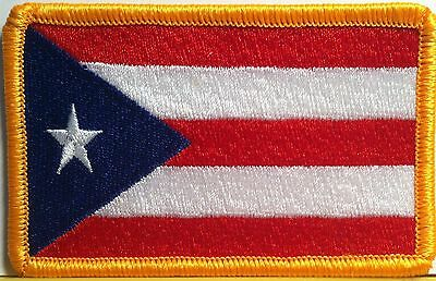 Puerto Rico Flag Embroidered Iron-On Patch Boricua Tactical Emblem Gold  Border