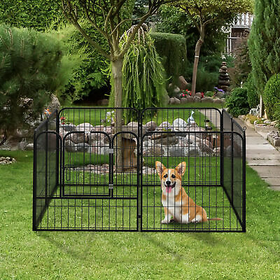 "8 Panel 32"" Heavy Duty Powder Coated Metal Dog Pet Playpen Exercise Fence"