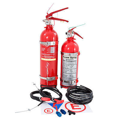 JJC 2.25 Ltr Plumbed In & 1.75 Ltr Hand Held MSA Approved Fire Extinguisher Kit