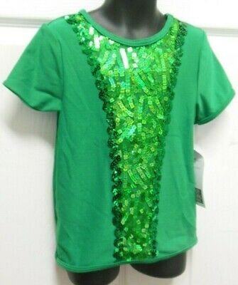NWT Sequin t shirt Unisex Kelly Green Short sleeve Dance costume boy's sizes