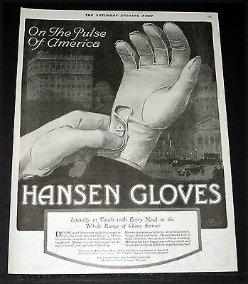 1919 Old Magazine Print Ad, Hansen Gloves On The Pulse Of America, J. Grant Art!