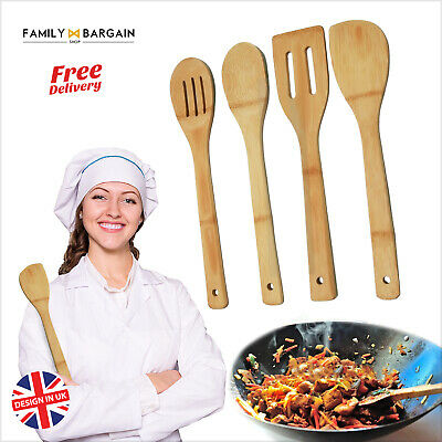 Quality 4Pc Bamboo Utensil Set Kitchen Spoons Stirrers Cake Making Cooking Gift