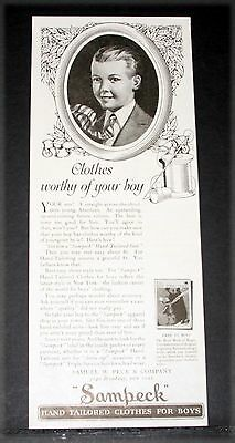 1919 Old Magazine Print Ad, Sampeck, Taiolered Clothes Worthy Of Your Boy, Art!