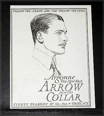 "1919 Old Magazine Print Ad, Cluett Peabody Arrow ""argonne"" New Fall Collar, Art!"