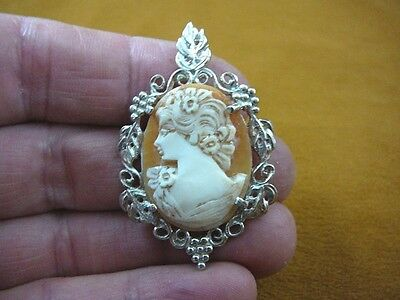C-1306) Woman with flowers in hair shell carved CAMEO sterling silver Pendant