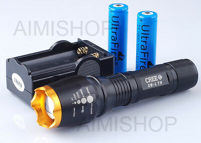CREE XM-L T6 LED Zoomable 2200 Lumen Flashlight Torch Zoom Lamp 2X18650+Charger