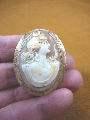 C-1356) DIANA hunt Woman with moon decoration shell carved CAMEO 10k pin brooch