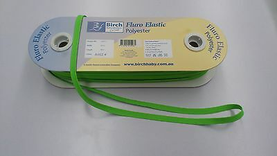 8mm WIDE :  BIRCH FLURO GREEN  POLYESTER ELASTIC : 5 METRES : #BF01A