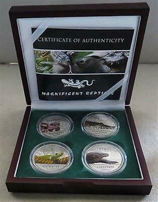 2013 Silver Republic Of Congo 30 Francs Reptiles Proof Four Coin Colorized Set
