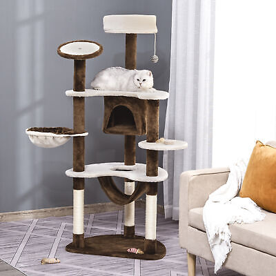 "HOMCOM 60"" Cat Tree Scratching Post Pet Condo Hammock Multilevel Tower House"