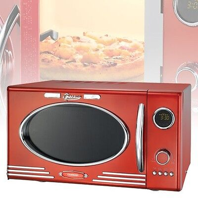 Mikrowelle mit Grill Kindersicherung Timer LED-Display Classico Retro Design rot
