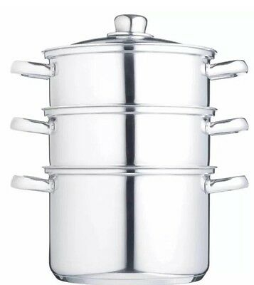Kitchen Craft 20cm Stainless Steel 3 Tier Steamer
