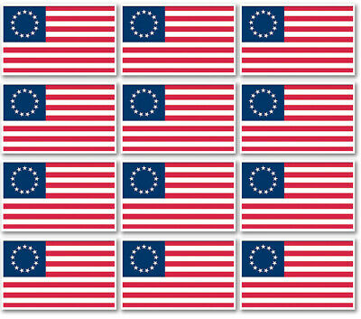 "12 qty of 3""x5"" Flag Decal Sticker - AMERICAN BETSY ROSS FLAG 13 STAR"