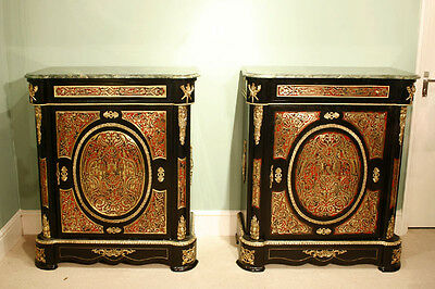 Pair Fantastic Marble Topped Boulle Pier Cabinets