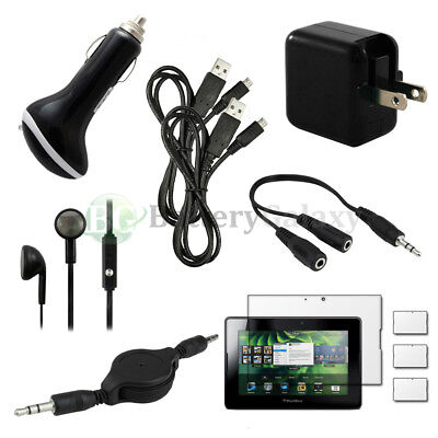 10 pcs Bundle Kit Black USB Cable+Car/Wall Charger for BlackBerry Playbook 7.0""