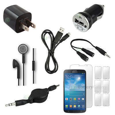 12 pcs Bundle Kit Black USB Cable+2x Charger+Headset for Samsung Galaxy Mega 6.3