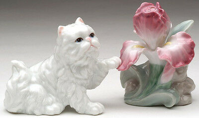 ✺ PERSIAN CAT WITH IRIS FLOWER Porcelain Salt and Pepper Shakers Set