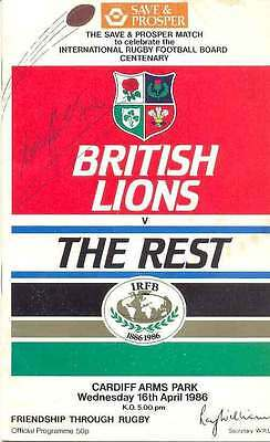 BRITISH & IRISH LIONS v THE REST 1986 PROG SIGNED WILLIE JOHN McBRIDE + COA